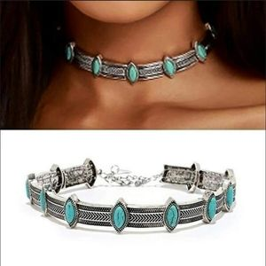 Jewelry - Boho Metal Choker with Faux Turquoise Stones